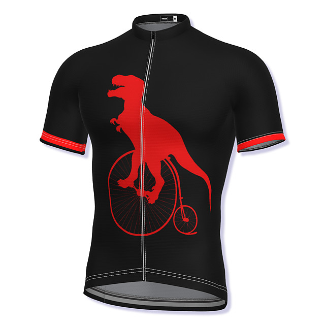 21Grams Men's Short Sleeve Cycling Jersey Summer Spandex Polyester Blue Red Green Dinosaur Bike Jersey Top Mountain Bike MTB Road Bike Cycling Quick Dry Moisture Wicking Breathable Sports Clothing