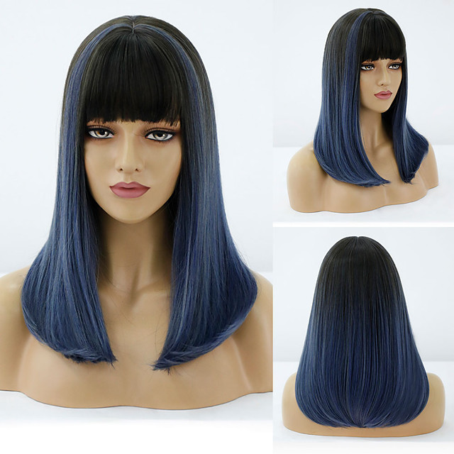 Synthetic Wig Natural Straight Neat Bang Wig Medium Length A15 A16 A10 A11 A12 Synthetic Hair Women's Cosplay Party Fashion Blue