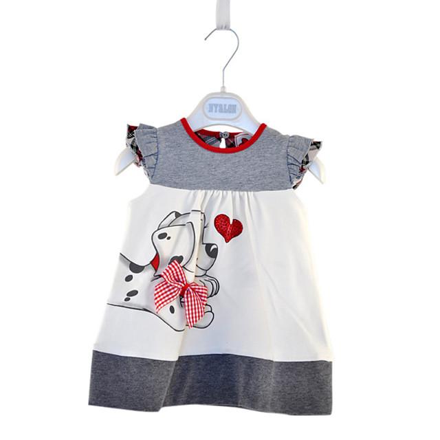 Enfants Petit Fille Robe Chien Animal Imprimé Gris Mi-long Sans Manches Actif Robes Eté Standard 2-6 ans