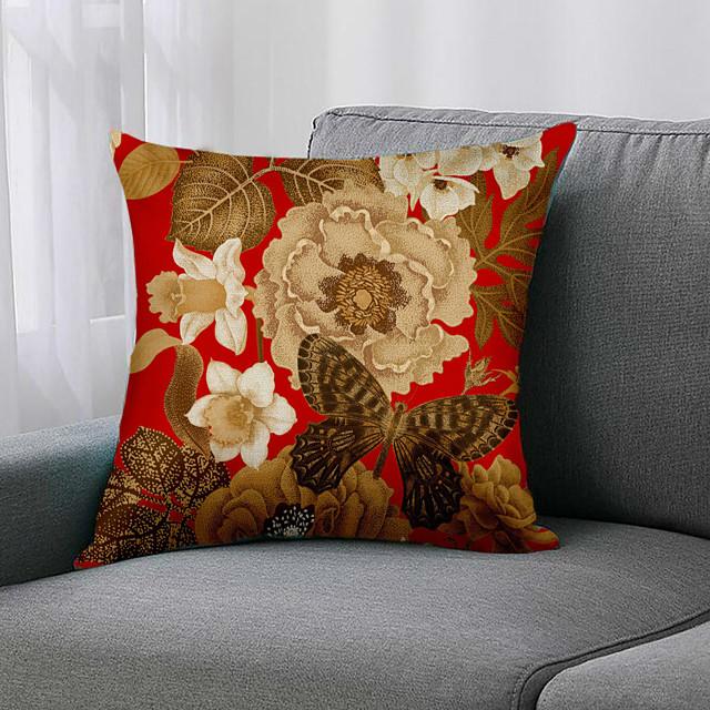 capa de almofada floral lado duplo 1 pc com estampa de linho falso 45x45cm para o quarto do sofá