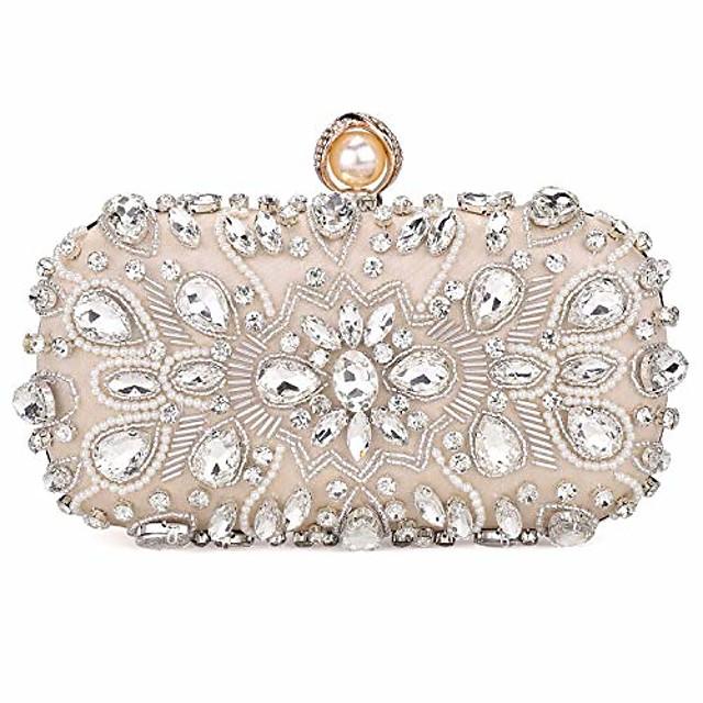 womens crystal evening clutch bag wedding purse bridal prom handbag party bag,beige.