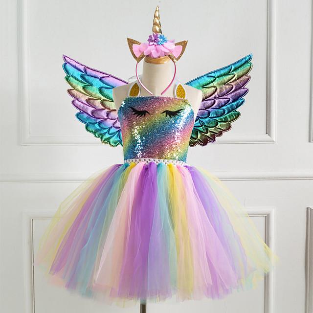 vestidos de meninas infantis 3 peças de unicórnio princesa arco-íris colorido tutu de festa vestidos de aniversário com asas e tiara lantejoulas ouro roxo prata vestidos bonitos 2-8 anos