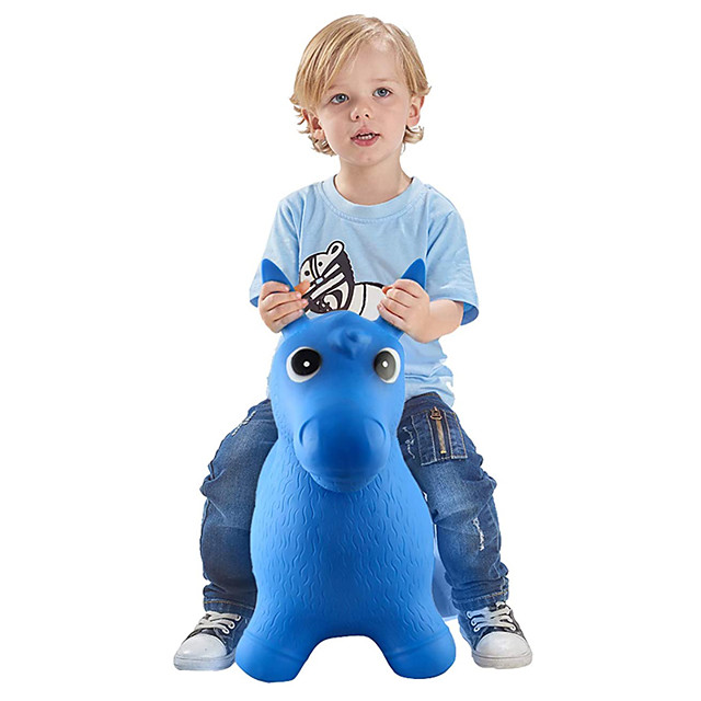 Bouncy Horse Hopper- Blue Inflatable Jumping Horse, Ride on Rubber Bouncing Animal Toys for Kids/ Toddlers/ Children/ Boys/ Girls