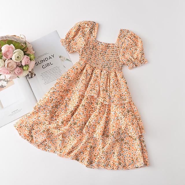 Kids Little Girls' Dress Sun Flower Graphic Festival Print Orange Chiffon Knee-length Long Sleeve Cute Sweet Dresses Summer Slim 2-6 Years