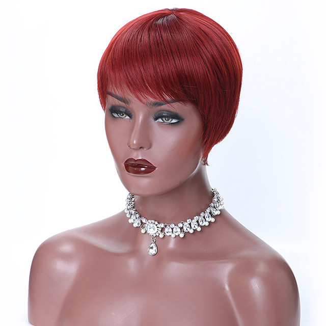 Short Red Black Pixie Cut Synthetic Wigs for Women Natural Wigs