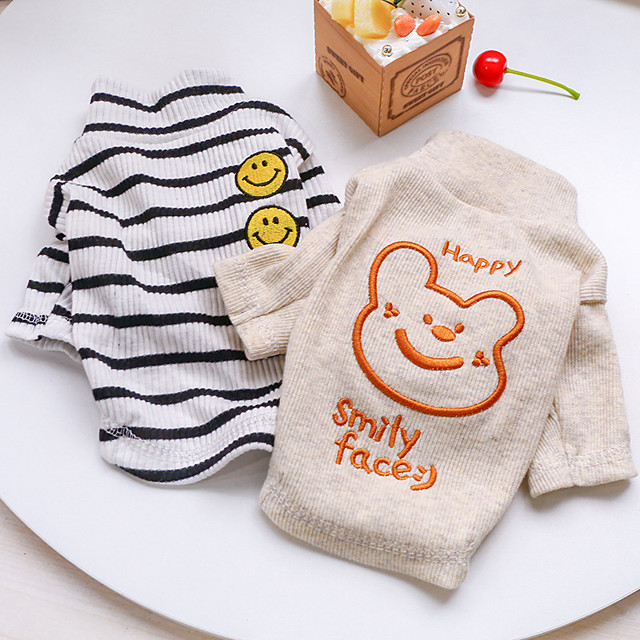 Dog Cat Shirt / T-Shirt Striped Bear Basic Adorable Cute Dailywear Casual / Daily Dog Clothes Puppy Clothes Dog Outfits Breathable White Beige Costume for Girl and Boy Dog Polyester XS S M L XL