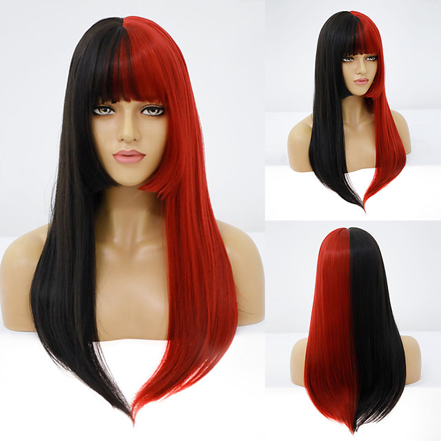 Synthetic Wig Straight Neat Bang Wig Medium Length A1 A2 A3 A4 Synthetic Hair Women's Cosplay Party Fashion Black Brown