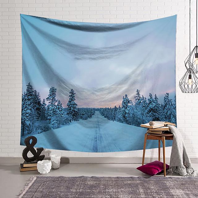 ταπετσαρία τοίχου τέχνη διακόσμηση κουβέρτα κουρτίνα κρεμαστό σπίτι υπνοδωμάτιο σαλόνι διακόσμηση πολυεστέρας χιόνι δάσος