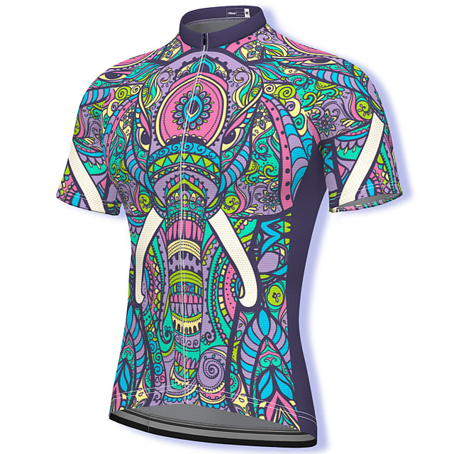 21Grams Men's Short Sleeve Cycling Jersey Summer Spandex Polyester Purple Paisley Bike Jersey Top Mountain Bike MTB Road Bike Cycling Quick Dry Moisture Wicking Breathable Sports Clothing Apparel