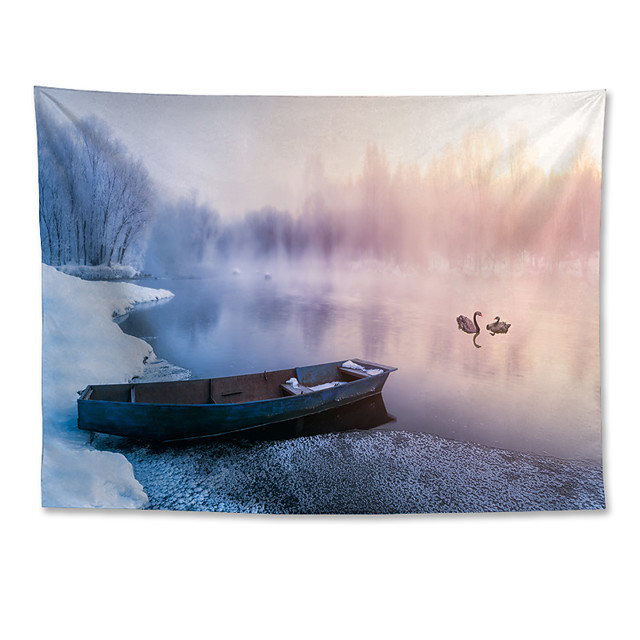 Wall Tapestry Art Decor Blanket Curtain Hanging Home Bedroom Living Room Polyester Winter Heavy Snow Rime Small River Boat Swans