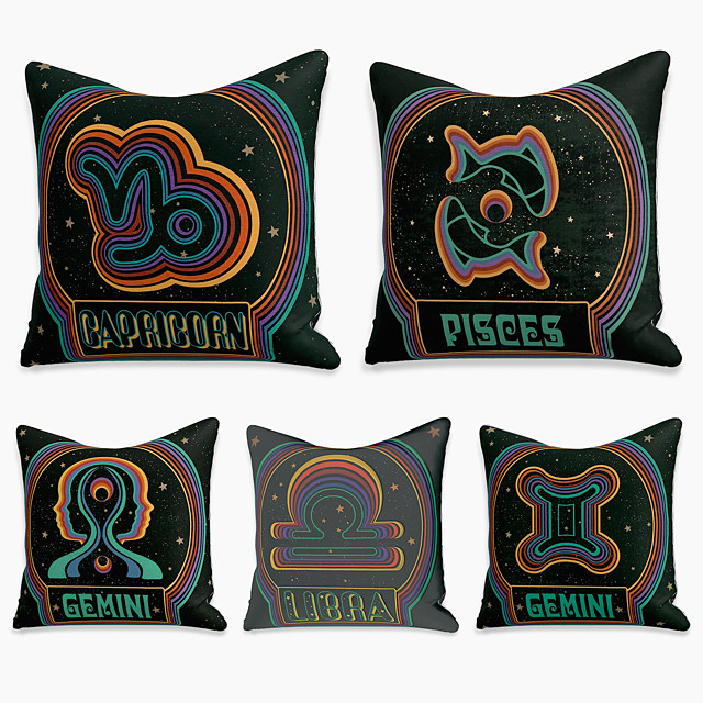 5 pcs Linen Pillow Cover, Abstract Square Zipper Polyester Traditional Classic