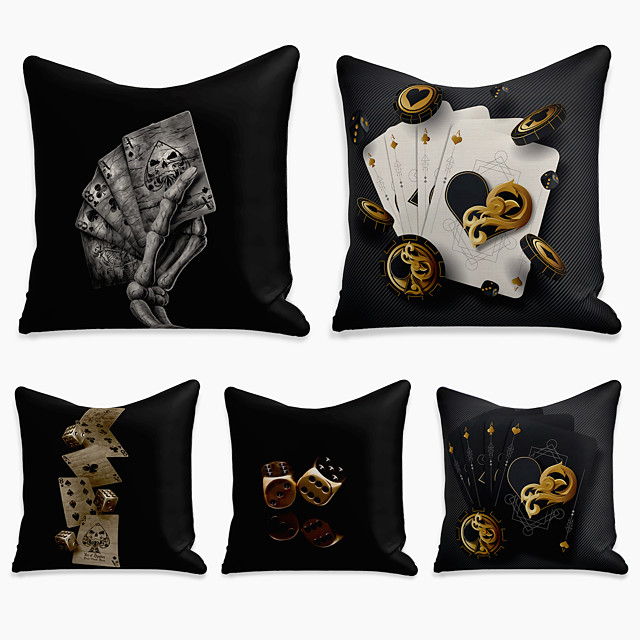 5 pcs Linen Pillow Cover, 3D Square Zipper Polyester Traditional Classic
