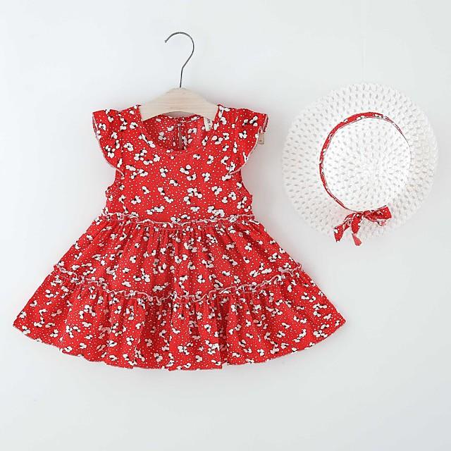 Kids Little Girls' Dress Flower Print Red Khaki Knee-length Sleeveless Regular Dresses Summer Loose 2-6 Years