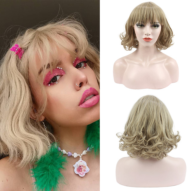 Women's Short Blonde Curly Wavy Wig with Bangs Synthetic Hair Full Wig Heat Resistant Free Cap 12 Inch