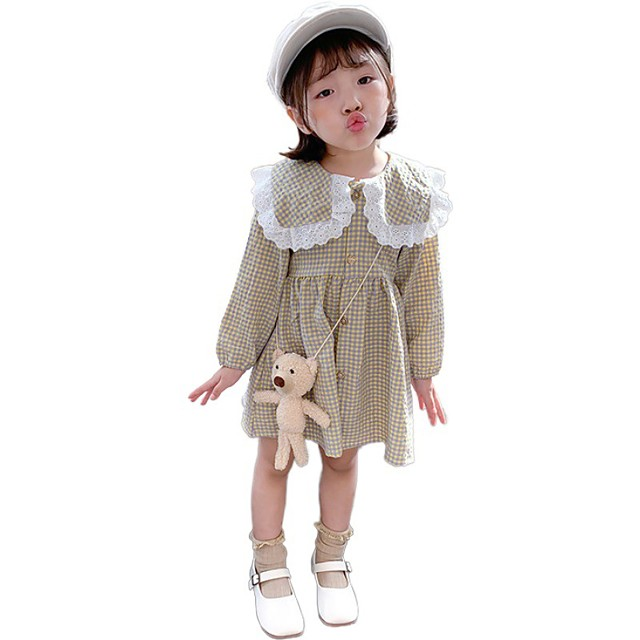 girls dress autumn 2021 new foreign style spring and autumn children's clothing baby princess plaid skirt children's long-sleeved skirt