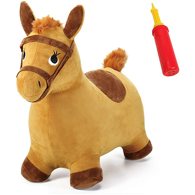 Bouncy Pals Yellow Hopping Horse, Outdoor Ride on Bouncy Animal Play Toys, Inflatable Hopper Plush Covered W/ Pump, Activitie Gift for 18 Months 2 3 4 5 Year Old Kids Toddlers Boys Girls