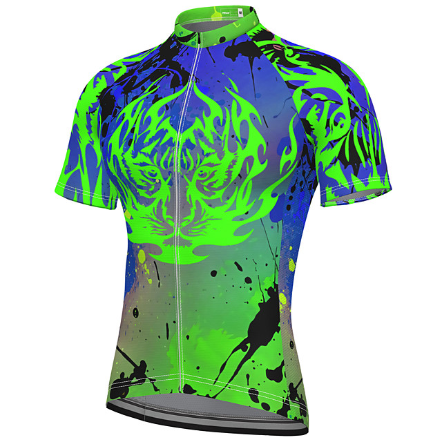 21Grams Men's Short Sleeve Cycling Jersey Summer Spandex Polyester Green Fluorescent Bike Jersey Top Mountain Bike MTB Road Bike Cycling Quick Dry Moisture Wicking Breathable Sports Clothing Apparel