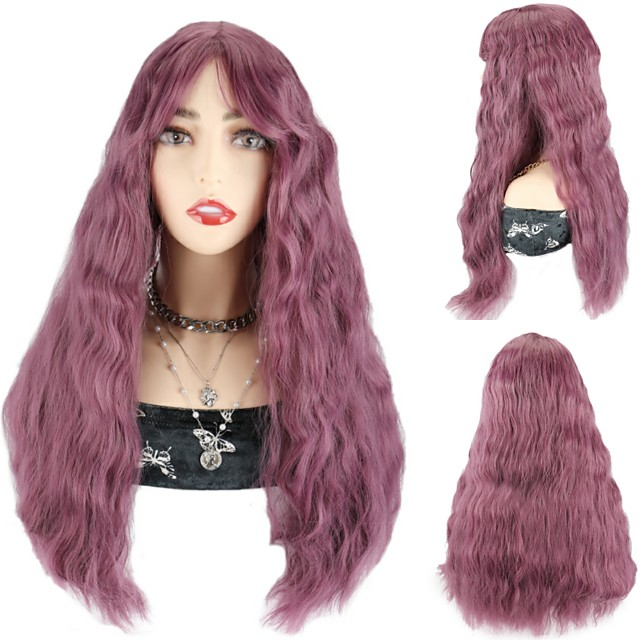 Synthetic Hair Wig Pink Color Wigs Party Cosplay Wigs Loose Deep Wave Wigs With Bangs For Black Women