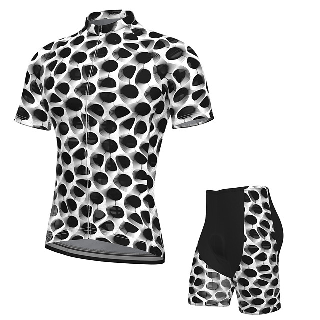 21Grams Men's Short Sleeve Cycling Jersey with Shorts Summer Spandex Polyester Black+White Bike Clothing Suit 3D Pad Quick Dry Moisture Wicking Breathable Reflective Strips Sports Graphic Mountain