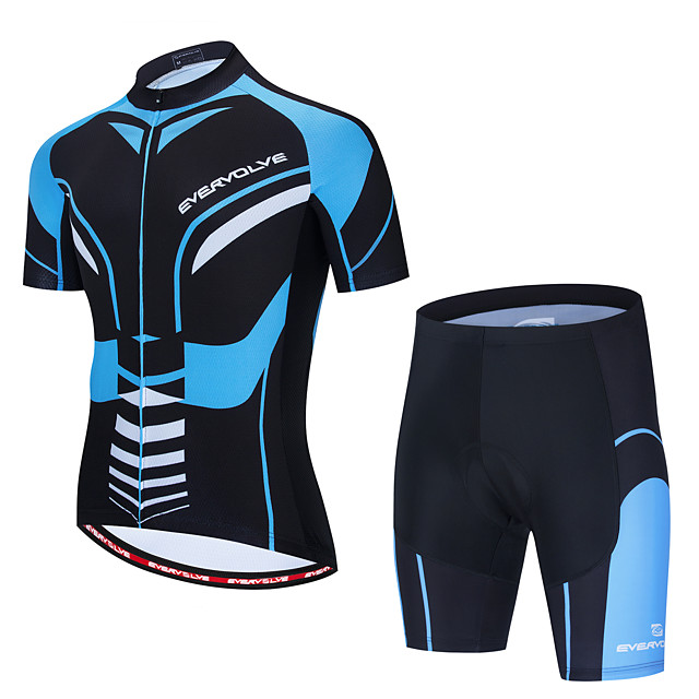 Men's Short Sleeve Cycling Jersey with Shorts Black / Blue Bike Sports Graphic Clothing Apparel / Micro-elastic / Athleisure