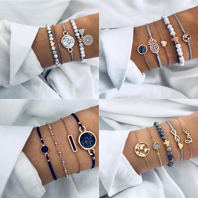 Women's Bead Bracelet Layered Heart Love Boho Alloy Bracelet Jewelry Blue For Party Evening Festival