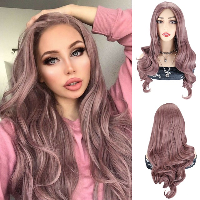 Synthetic Wig Body Wave Silky Wavy Middle Part Wig 24 inch Violet Pink Synthetic Hair 24 inch Women's Cosplay Party African American Wig Pink