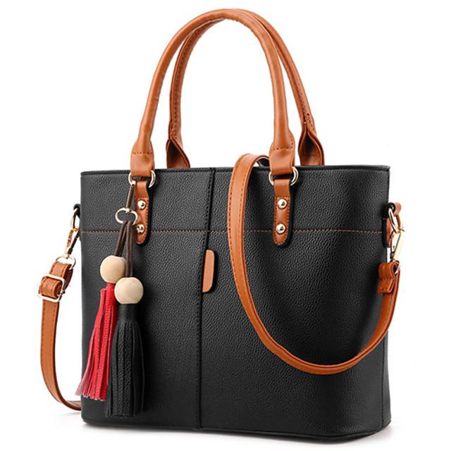 Women's Bags PU Leather Satchel Top Handle Bag Zipper Plain Daily Date 2021 Handbags Wine Black Purple Red