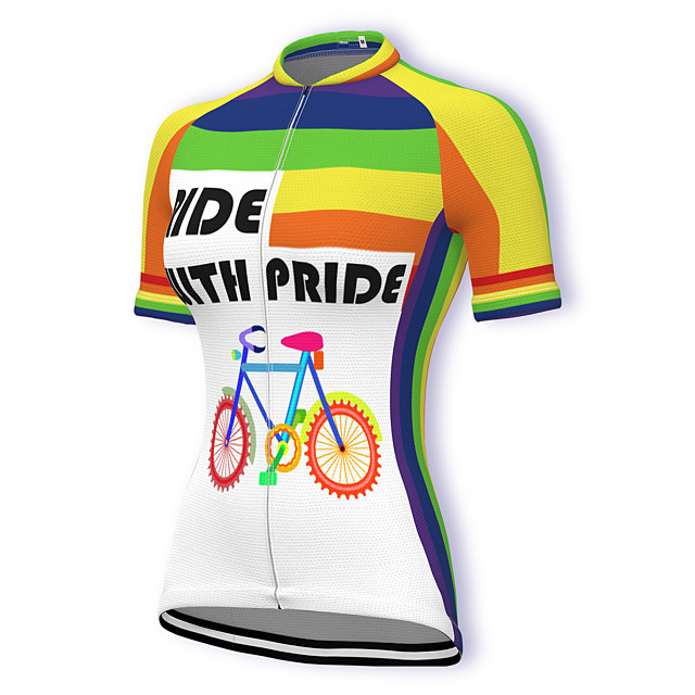 21Grams Women's Short Sleeve Cycling Jersey Summer Spandex Polyester White Rainbow Stripes Bike Jersey Top Mountain Bike MTB Road Bike Cycling Quick Dry Moisture Wicking Breathable Sports Clothing