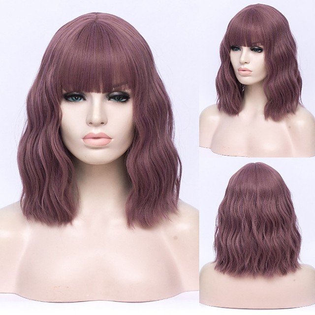 Short Bobo Wavy Cosplay Wigs for Women Purple Red Green Natural Bob Synthetic Wig Brown Blue Black with Bang for Girl
