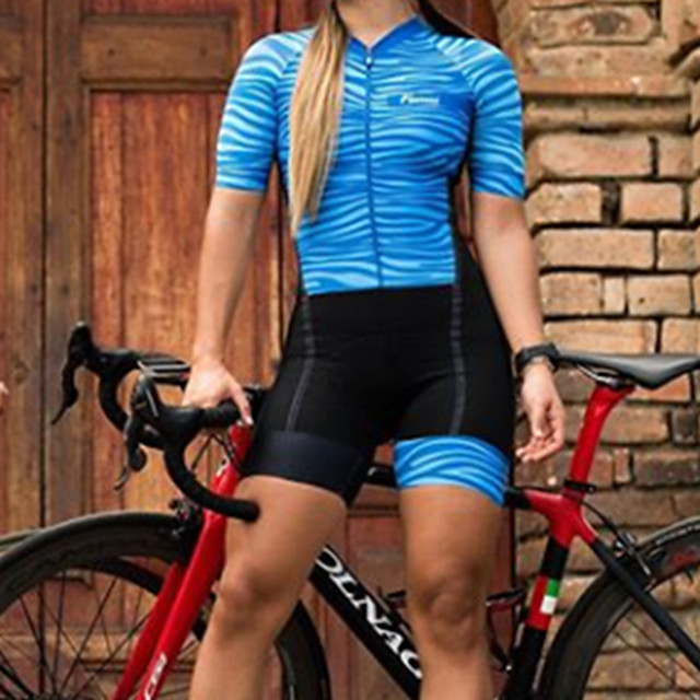 Women's Men's Short Sleeve Triathlon Tri Suit Summer Red Blue Bike Quick Dry Breathable Sports Lines / Waves Mountain Bike MTB Road Bike Cycling Clothing Apparel / Stretchy / Athletic