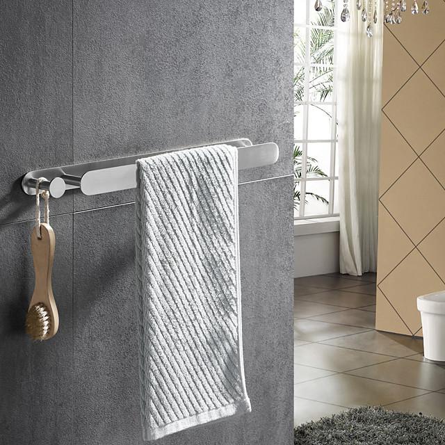 borstad multifunktionell handduksstång med krok 304 rostfritt stål galvaniserad, 40 cm, borstad, badrum och kökshylla stansfri