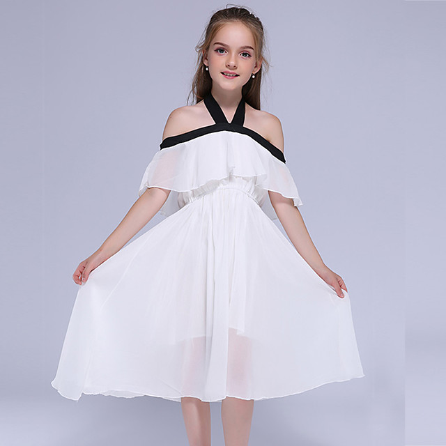 Kids Little Girls' Dress Solid Colored Holiday Black Midi Sweet Dresses Summer Regular Fit 3-13 Years