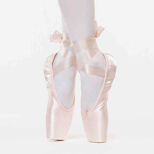 Women's Ballet Shoes Professional Lace-up Flat Heel Pink Satin