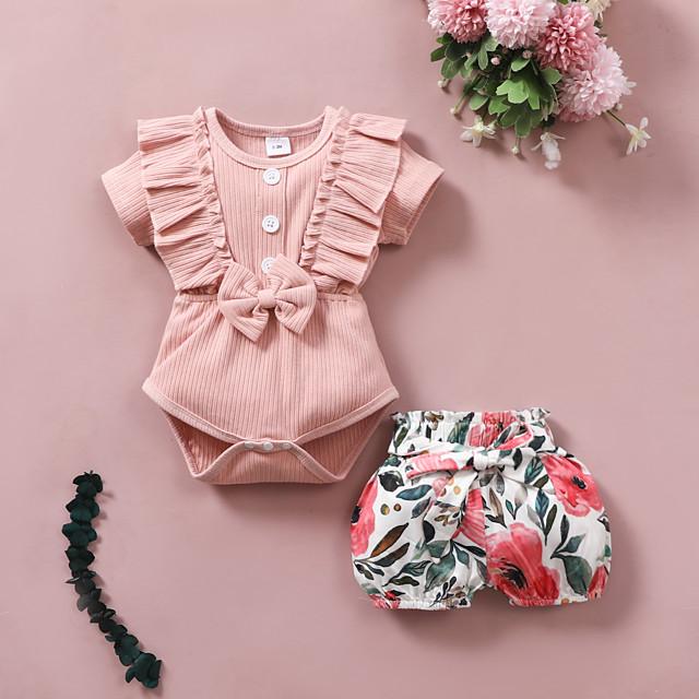 Baby Girls' Basic Floral Bow Print Short Sleeve Regular Clothing Set Blushing Pink