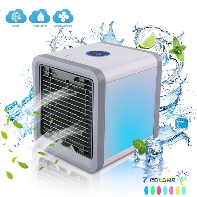 Portable Air Cooler Evaporative Portable Air Fan Mini USB Air Conditioner 7 Colors Light Desktop Air Cooling Fan Humidifier Purifier for Office Bedroom