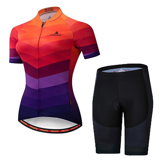 21Grams Women's Short Sleeve Cycling Jersey with Shorts Spandex Camouflage Bike Breathable Sports Geometic Mountain Bike MTB Road Bike Cycling Clothing Apparel / Stretchy / Athleisure