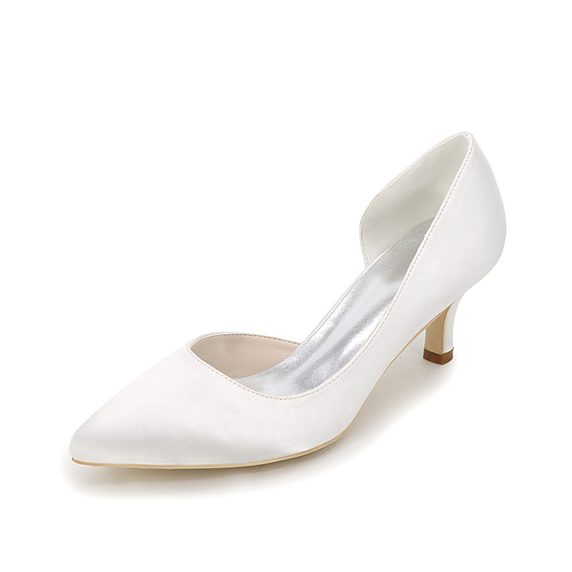 Women's Wedding Shoes Kitten Heel Pointed Toe Satin Solid Colored White Purple Red