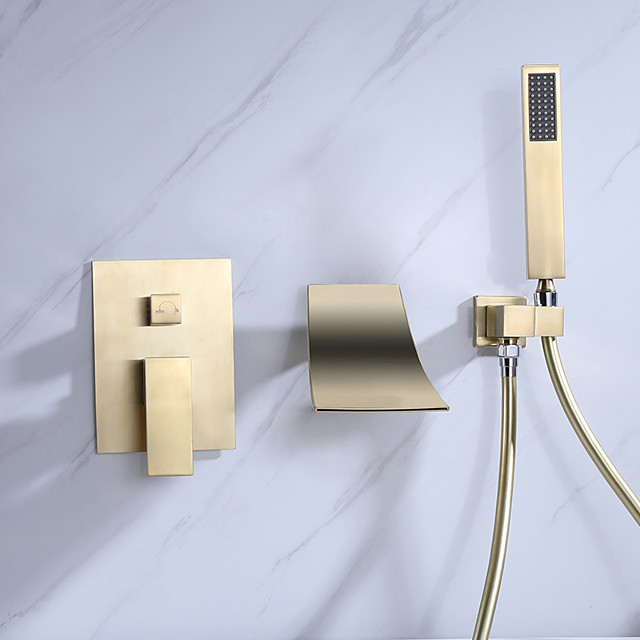 Wall Mount Bathtub Faucet - Contemporary Nickel Brushed Gold Wall Installation Ceramic Valve Bath Shower Mixer Taps