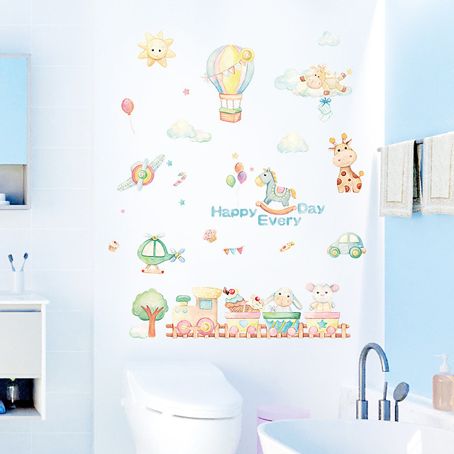 Cartoon Happy Every Day Balloon Happy Little Train Children's Room Bedroom Kindergarten Background Decoration Wall Stickers 50x70cm