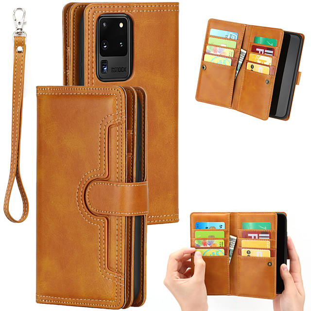 Retro Flip Wallet Phone Case For Samsung Galaxy S21 Plus S20 Ultra Note 20 Plus PU Leather Kickstand Card Slots Full Body Protective Case