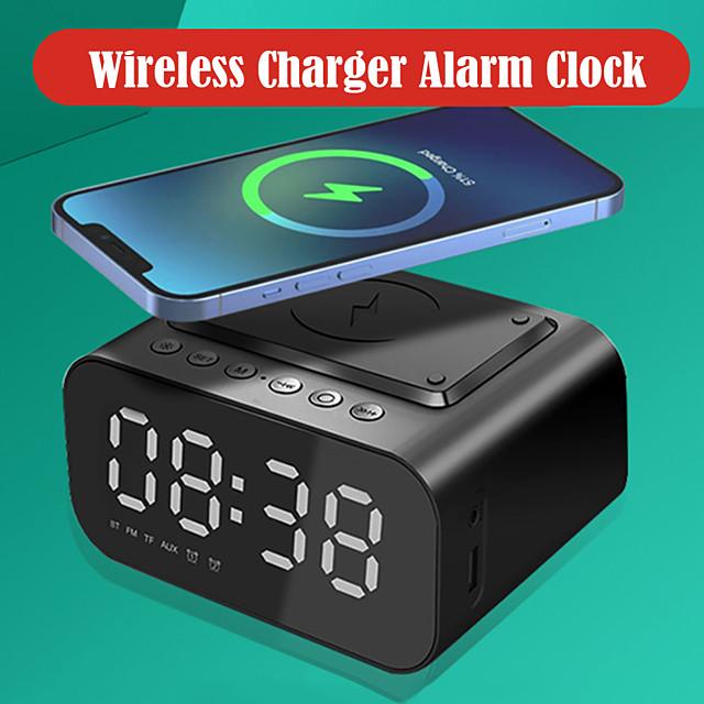 AEC Clock Radios FM Radio Alarm Clock Wireless Charging Bluetooth Speaker LED Display for Rechargeable