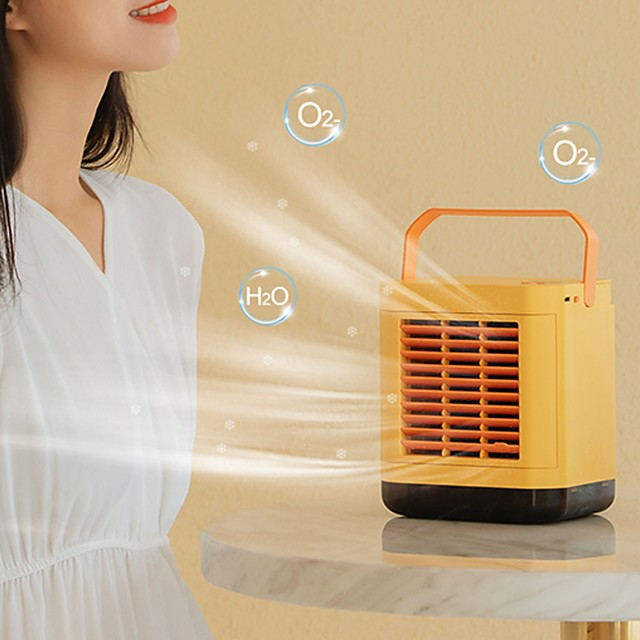 Mini Portable Air Cooler Air Conditioner LED USB Personal Space Cooler Fan Air Cooling Fan Rechargeable Fan Desk