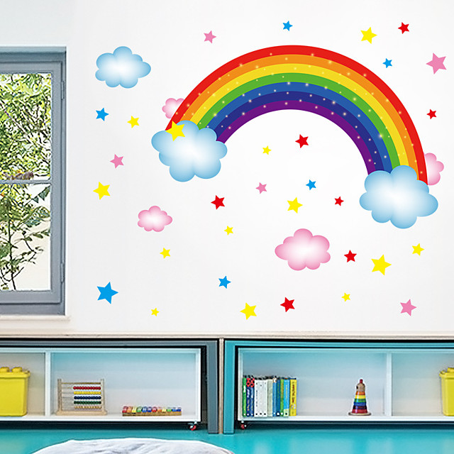Wall Sticker New Cartoon Rainbow Stars Cloud DIY Restaurant Kitchen Porch Wall Background Beautification Decorative Wall Sticker
