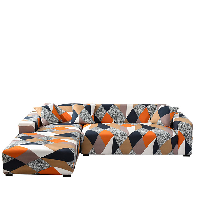 Sofa Cover Contracted Style Dustproof Stretch Slipcovers Stretch Super Soft Fabric Couch Cover Fit for 1to  4 Cushion Couch and L Shape Sofa (You will Get 1 Throw Pillow Case as free Gift)