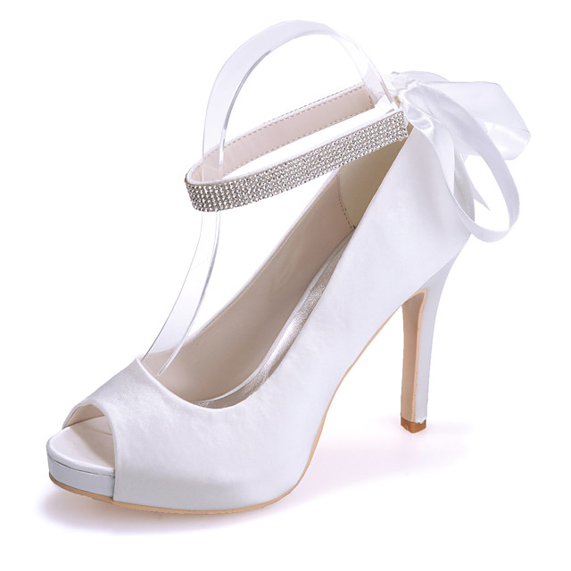 Women's Wedding Shoes Stiletto Heel Peep Toe Satin Sparkling Glitter Solid Colored White Purple Red