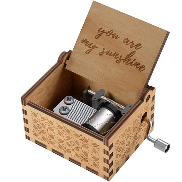 cajas de música de madera, caja de música de sol de madera vintage grabada con láser regalos para cumpleaños / navidad / día de san valentín (eres mi sol / papá a hija / esposo a esposa / mamá a hija)
