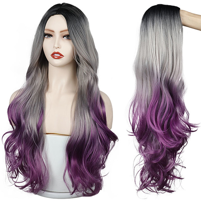 Long Gray purple Golden Ombre Synthetic Wigs Natural Part Side Wavy Heat Resistant Hair Cosplay Daily Wig for White Black Women