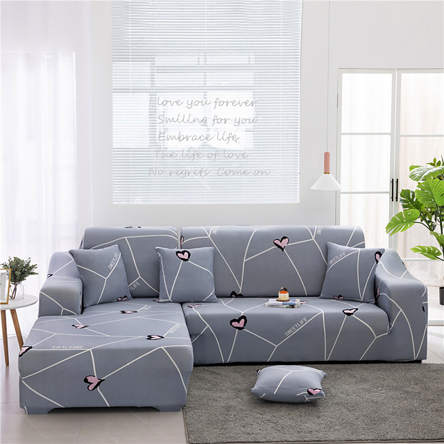 Grey Stripes Print Dustproof All-powerful Slipcovers Stretch L Shape Sofa Cover Super Soft Fabric Couch Cover Sofa Furniture Protector With One Free Boster Case