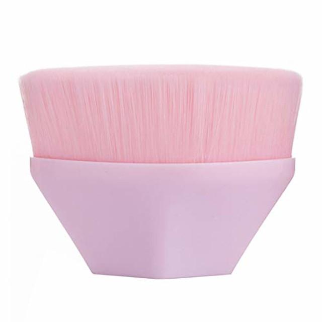 stor pulver børste flat topp foundation børste flytende krem pulver kosmetikk kabuki makeup børster for polering blanding sømløs sekskant full dekning med beskyttende etui (rosa)