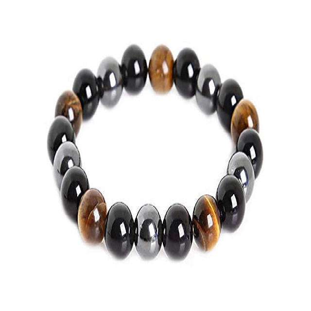 mson triple protection bracelet black obsidian tiger eye stone bracelets for protection bring luck and prosperity hematite (10mm)